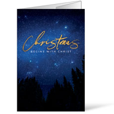 Night Sky Gold Script Christmas